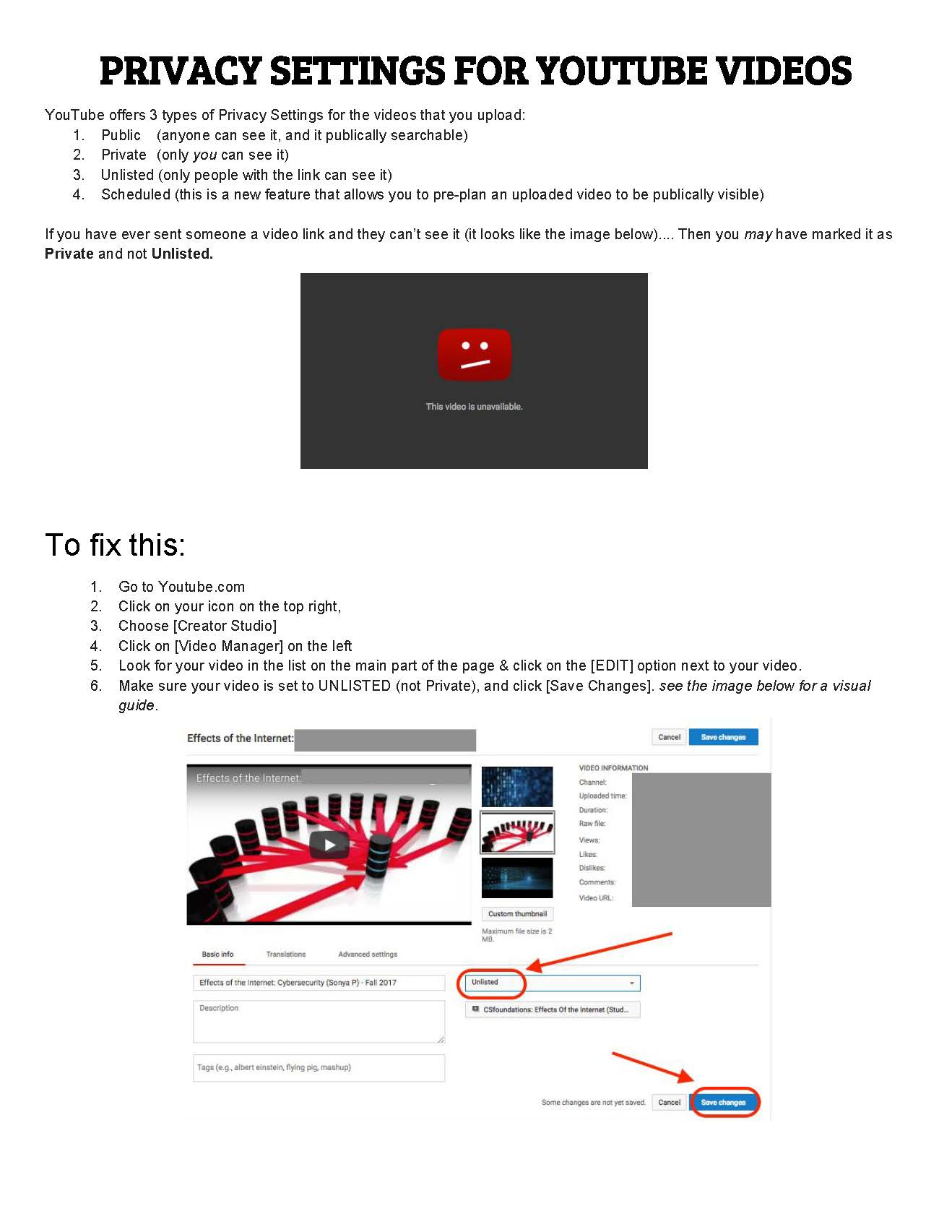 HOW-TO Youtube - Check Privacy Settings for Posted Videos